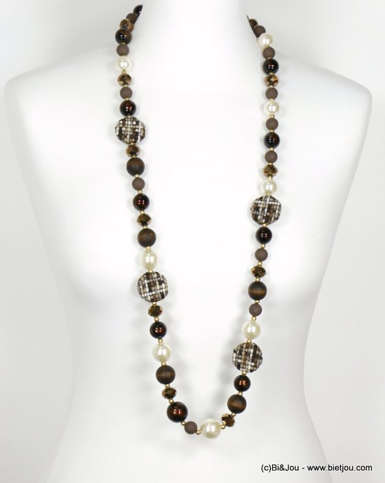 long necklace 0119613-02 sautoir wood tweed glass resin pearl balls crystal