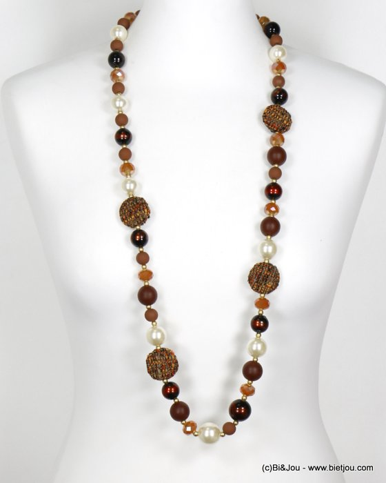 long necklace 0119613-15 sautoir wood tweed glass resin pearl balls crystal