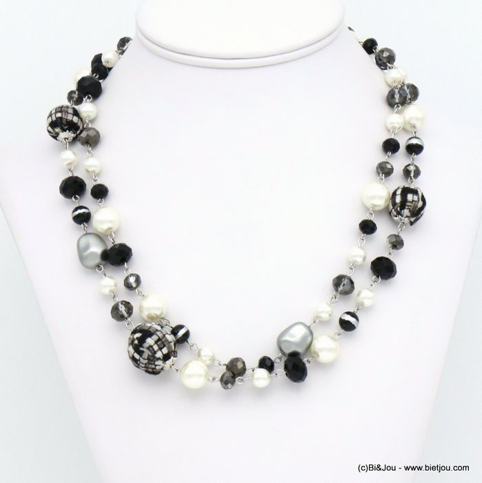 necklace 0119614-01 double-row tweed wrap balls faux-pearl resin crystal