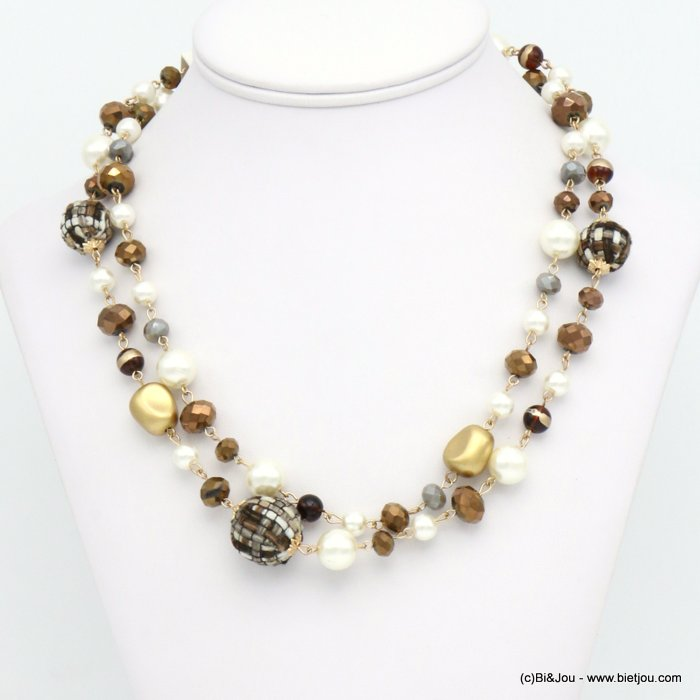 necklace 0119614-02 double-row tweed wrap balls faux-pearl resin crystal