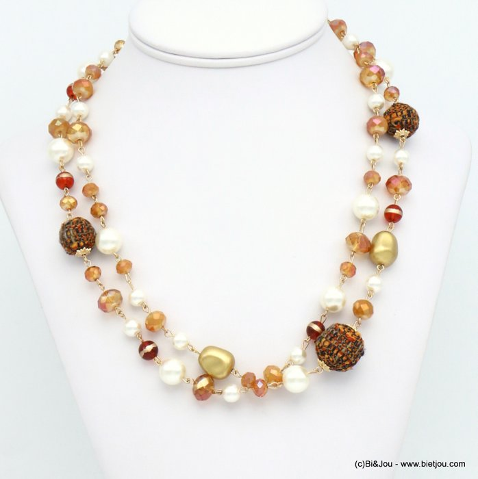 necklace 0119614-15 double-row tweed wrap balls faux-pearl resin crystal