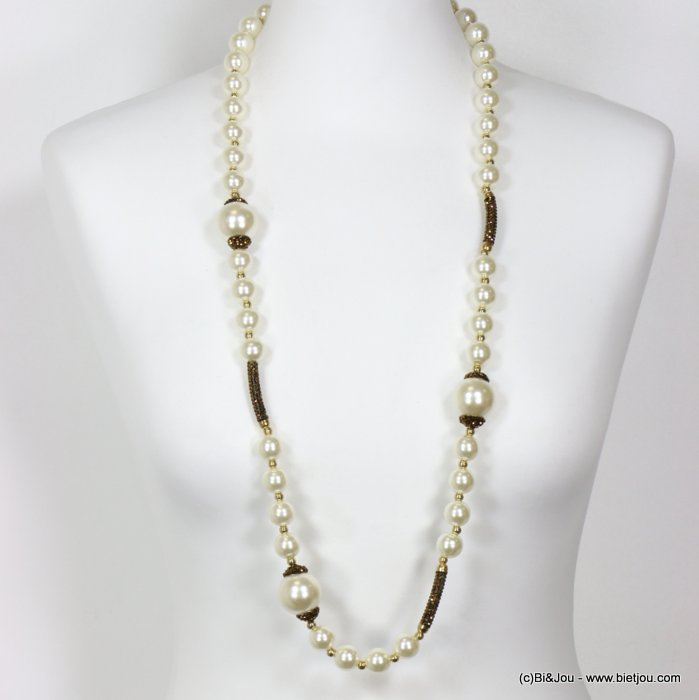long necklace 0119617-15 sautoir acrylic imitation pearl rhinestone
