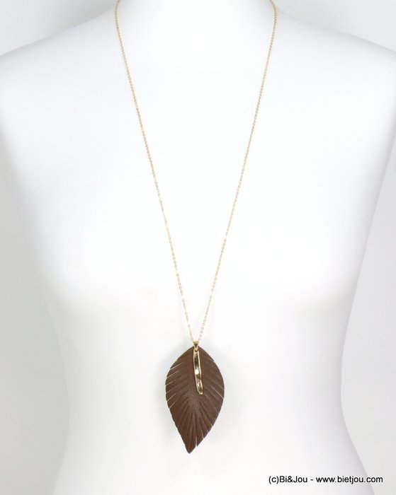 necklace 0119623-02 thin sautoir pendant leaf faux leather bar thread slave link chain