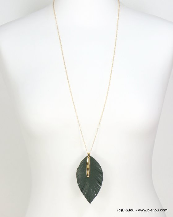 necklace 0119623-07 DARK GREEN thin sautoir pendant leaf faux leather bar thread slave link chain