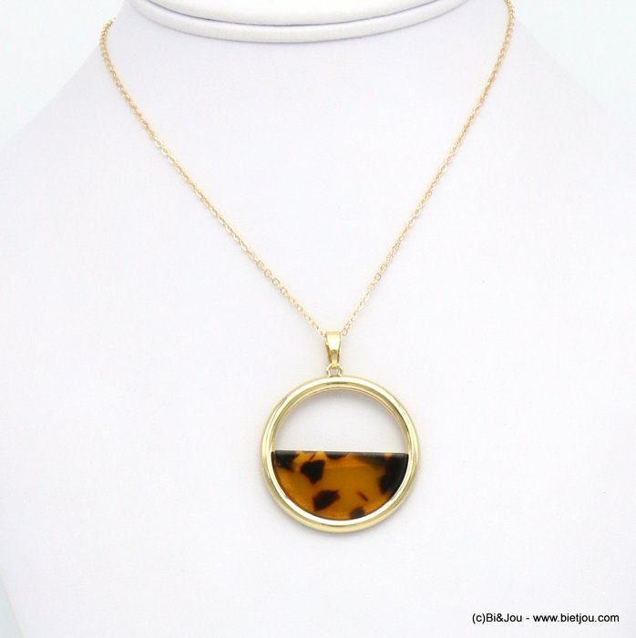 necklace 0119624-02 resin tortoise shell metal