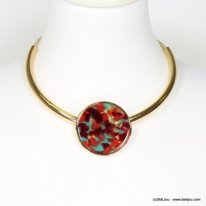 necklace 0119626-10 tortoise shell resin-metal