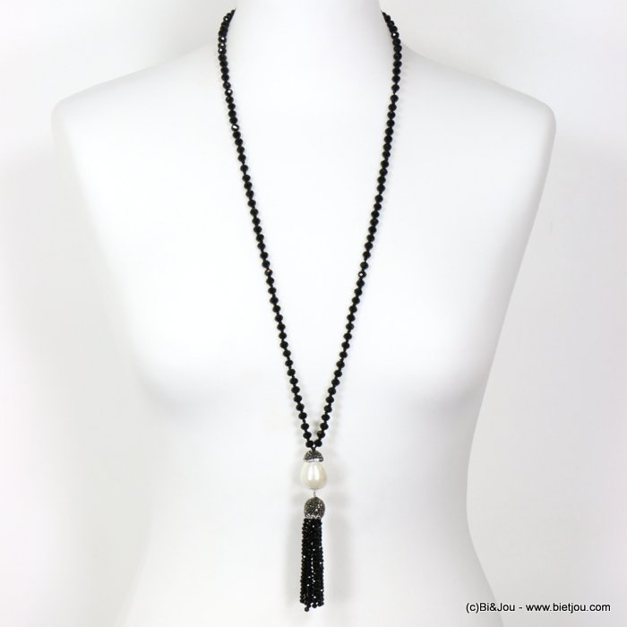 long necklace 0119627-01 sautoir crystal tassel acrylic imitation pearl acom