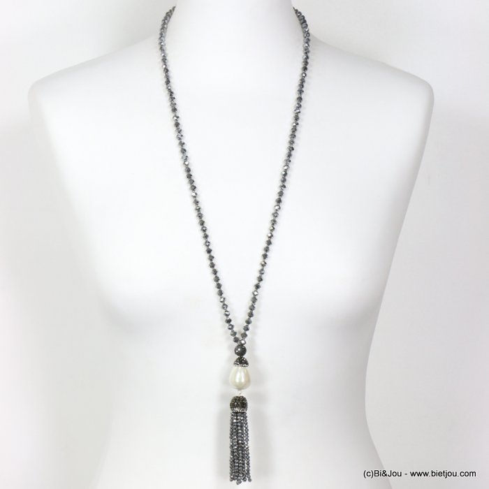long necklace 0119627-13 sautoir crystal tassel acrylic imitation pearl acom