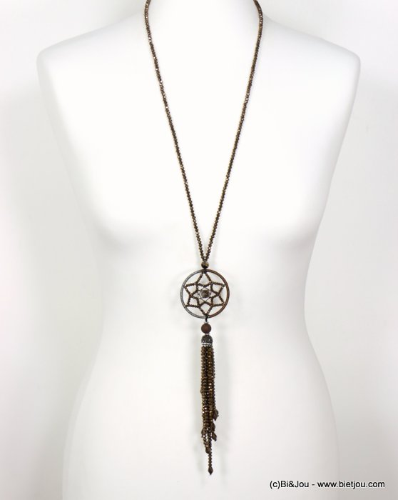 necklace 0119632-02 sautoir tassel metal-crystal-polyester-strass-reconstituted stone
