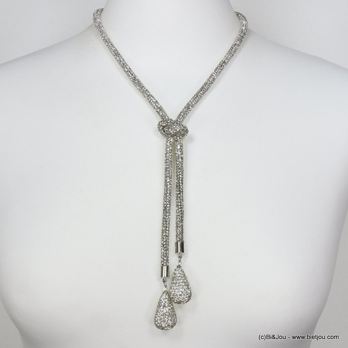 necklace 0119634-13 rhinestone tube knot drop