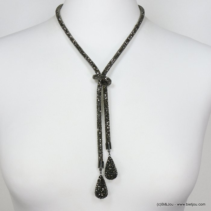 necklace 0119634-20 rhinestone tube knot drop
