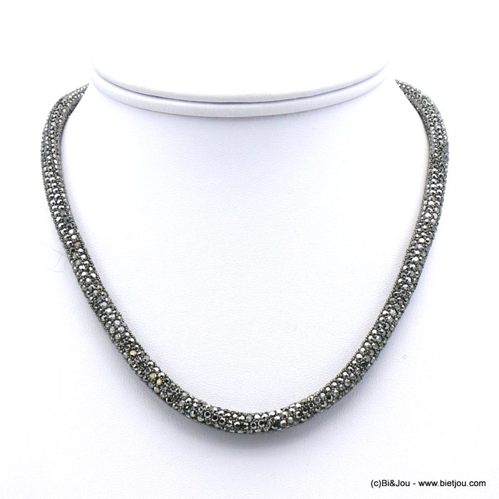 necklace 0119635-20 rhinestone tube magnetic clasp