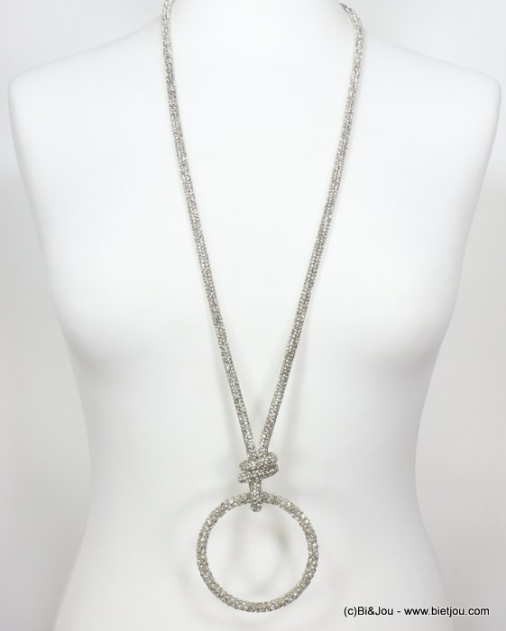necklace 0119637-13 rhinestone tube knot ring