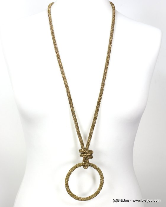 necklace 0119637-15 rhinestone tube knot ring