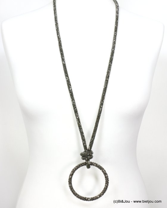 necklace 0119637-20 rhinestone tube knot ring