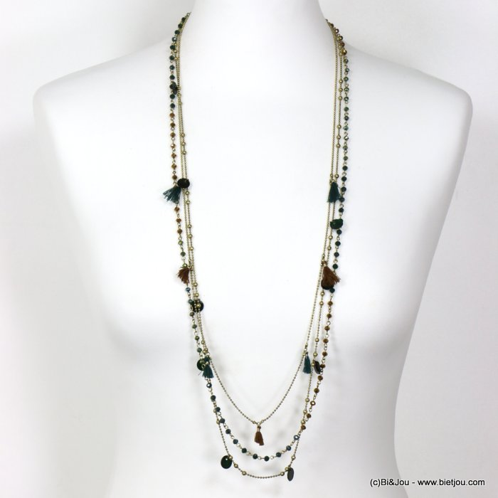 long necklace 0119652-07 thin sautoir multi-row crystal shell disc polyester thread tassel metal chain