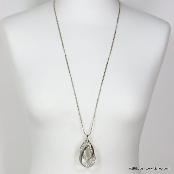long necklace 0119655-13 sautoir intertwined drops metal rhinestone double chain