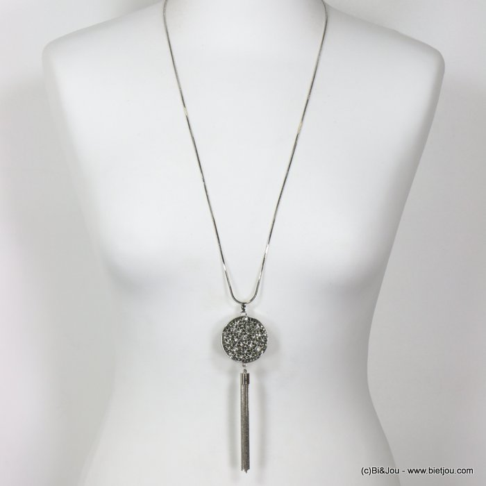 long necklace 0119658-13 sautoir round pendant metal rhinestone tassel slave link chain