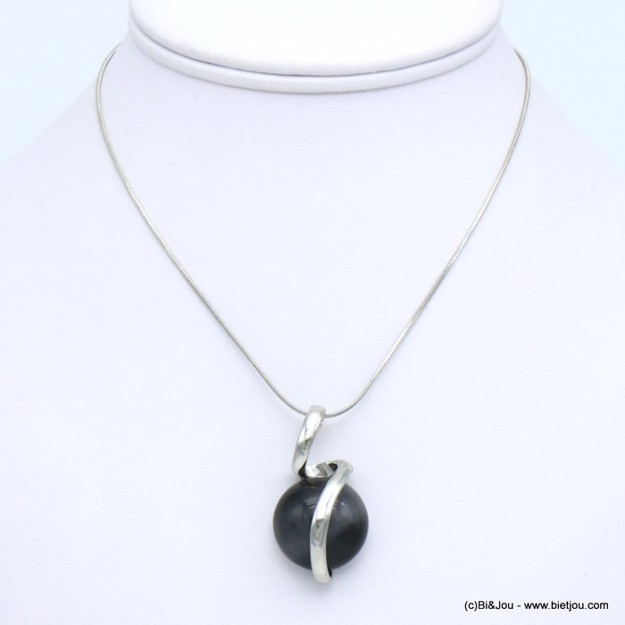 necklace 0119661-01 glass-metal pendant snake link chain