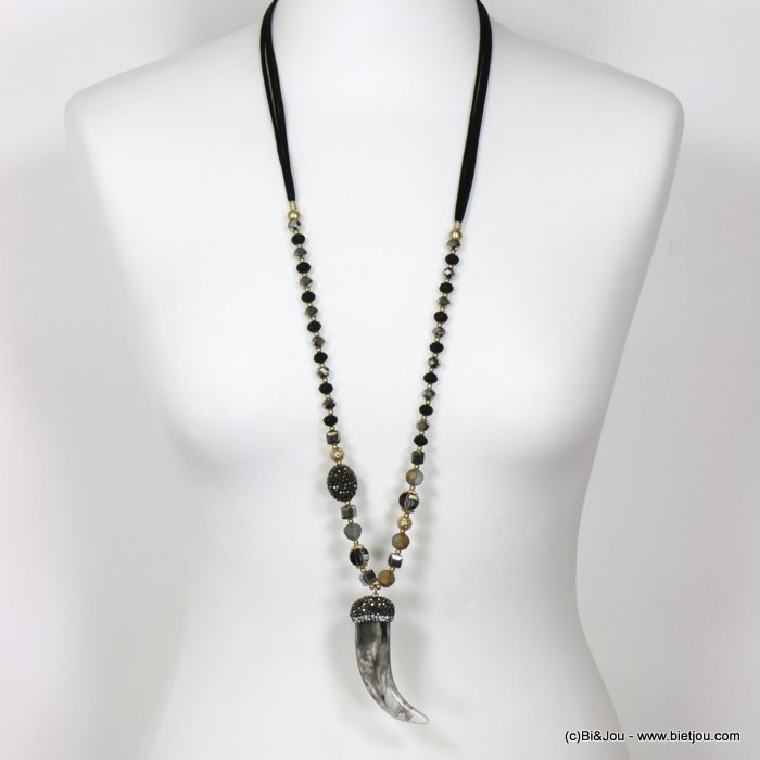 long necklace 0119663-01 sautoir horn of plenty resin crystal rhinestone imitation-suede cords