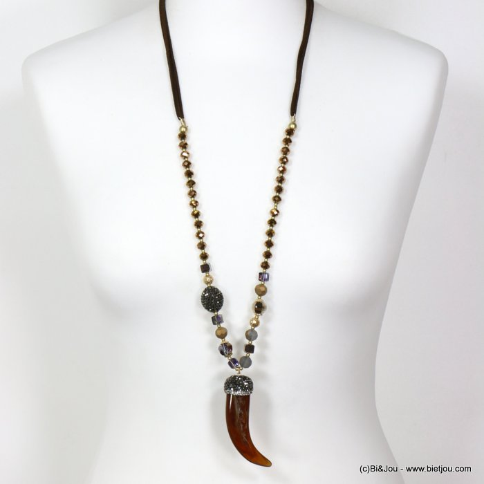 long necklace 0119663-02 sautoir horn of plenty resin crystal rhinestone imitation-suede cords