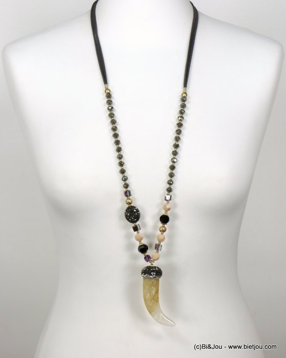 long necklace 0119663-06 sautoir horn of plenty resin crystal rhinestone imitation-suede cords