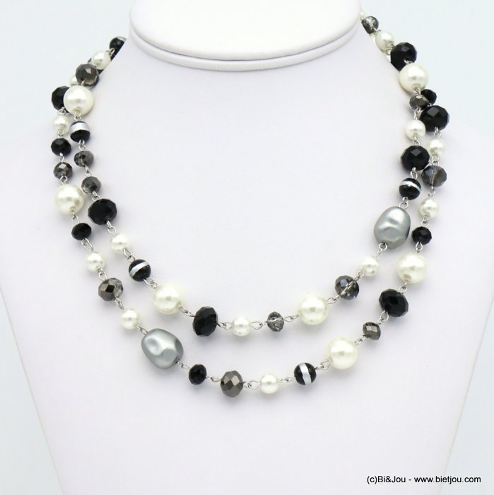 necklace 0119666-01 double-row imitation pearl glass balls ccb nuggets crystal woman