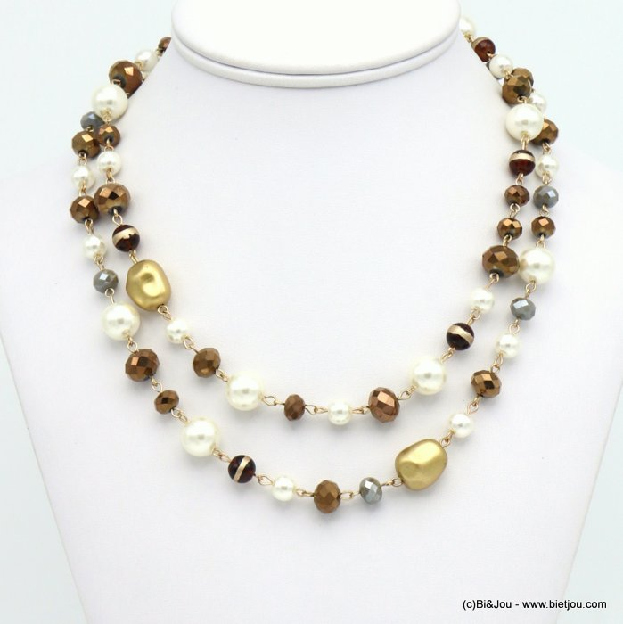 necklace 0119666-02 double-row imitation pearl glass balls ccb nuggets crystal woman