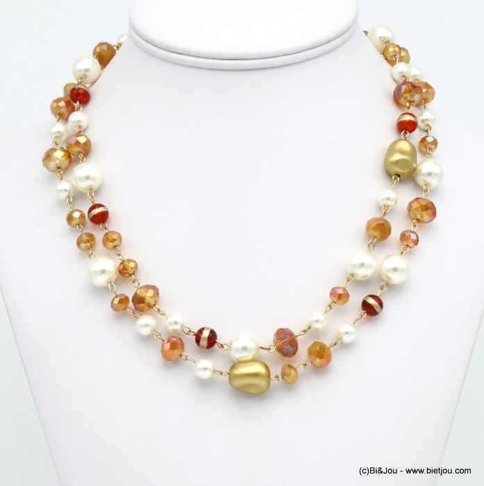 necklace 0119666-15 double-row imitation pearl glass balls ccb nuggets crystal woman