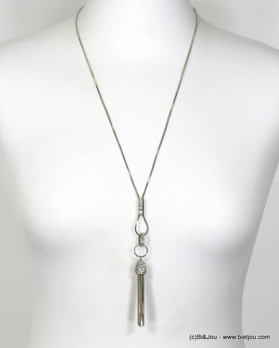 necklace 0119668-13 long chic geometric and with strass in metal with pendants rod snake chain women 43cm