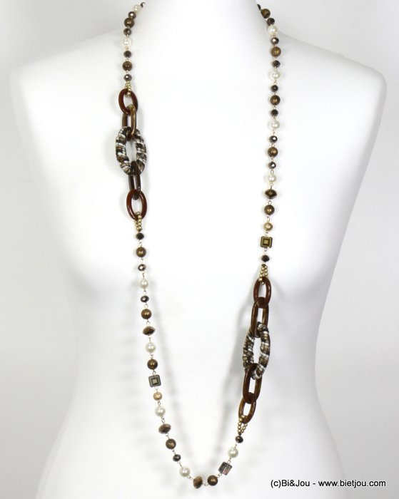 necklace 0119669-02 long necklace geometric with crystal and pearl imitation and polyester women