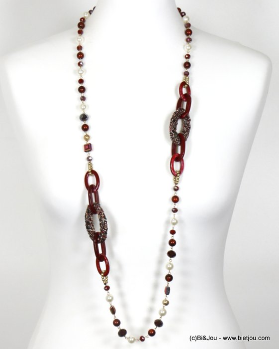 necklace 0119669-10 long necklace geometric with crystal and pearl imitation and polyester women