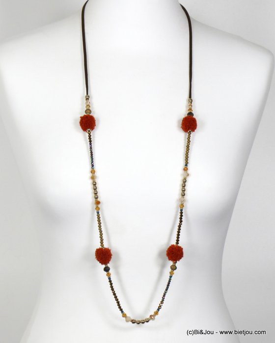 necklace 0119670-10 long necklace with round pompom and crystal suede cord women