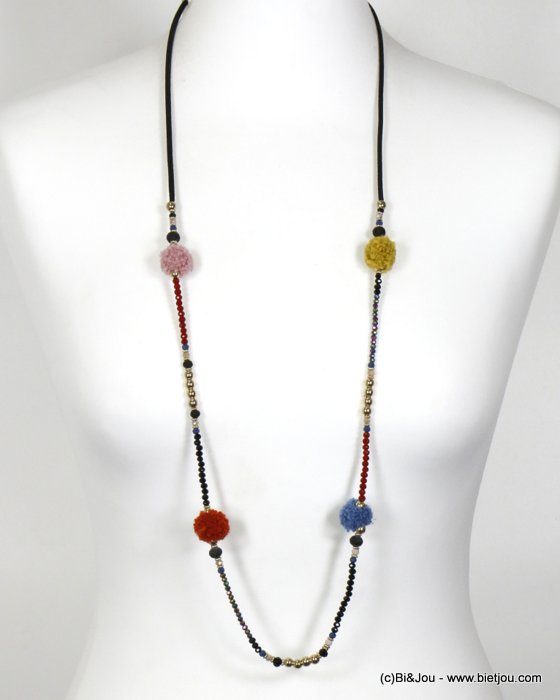 necklace 0119670-99 long necklace with round pompom and crystal suede cord women