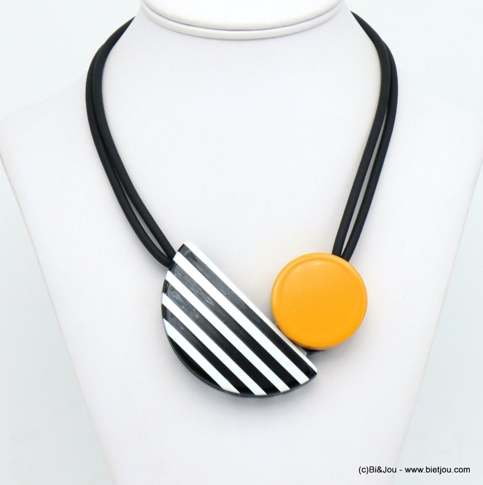 necklace 0120001-01 magnetic clasp coloured resin pendant silicone rubber cords woman