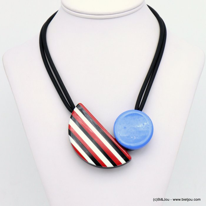 necklace 0120001-12 magnetic clasp coloured resin pendant silicone rubber cords woman