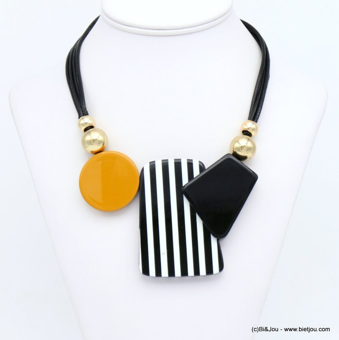 necklace 0120010-01 ccb ball coloured resin pendant waxed cotton cords woman