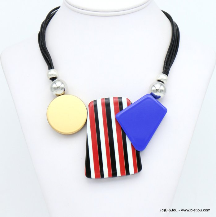 necklace 0120010-12 ccb ball coloured resin pendant waxed cotton cords woman