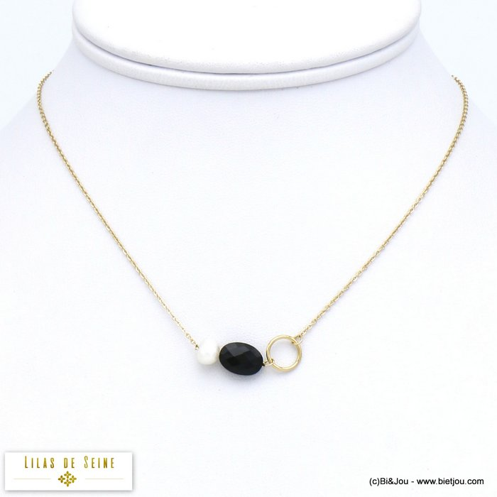 necklace 0120016-01 stainless steel natural stone freshwater pearl  woman slave link chain