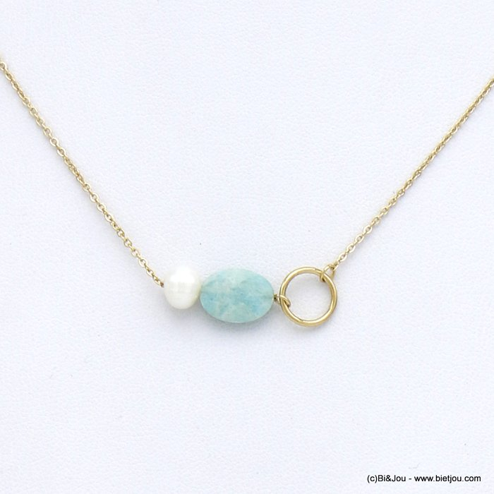 necklace 0120016-07 stainless steel natural stone freshwater pearl  woman slave link chain