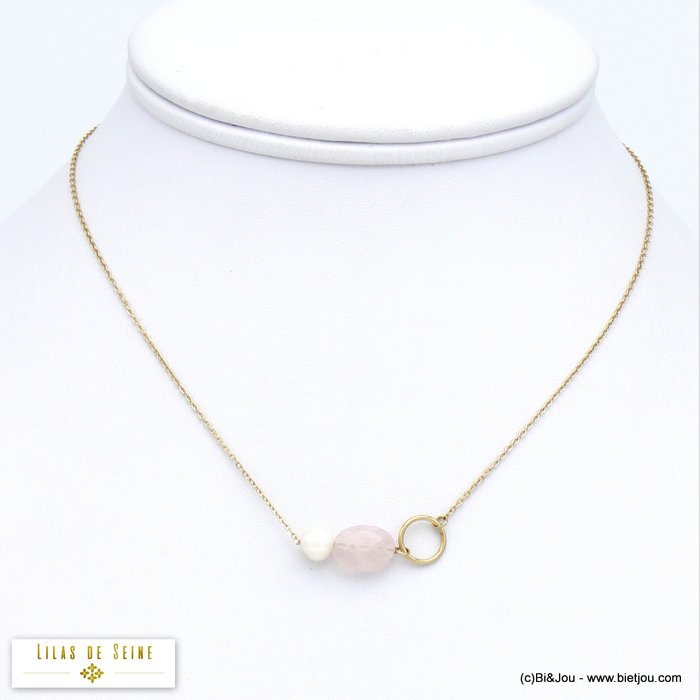 necklace 0120016-27 stainless steel natural stone freshwater pearl  woman slave link chain