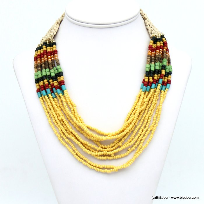 necklace 0120023-43 multi-thread multicolor seed beads woven cotton coco button clasp