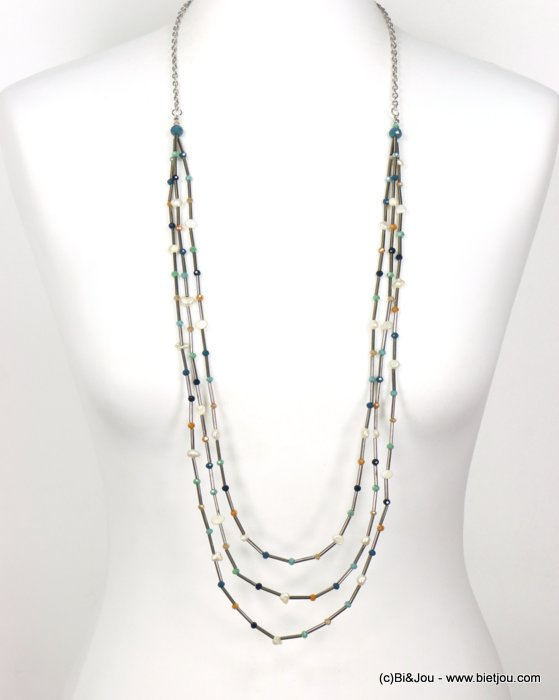 long necklace 0120029-08 sautoir multi-thread freshwater pearls tubes crystal woman