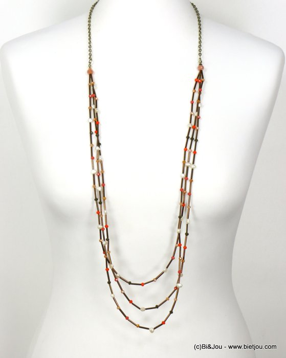 long necklace 0120029-43 sautoir multi-thread freshwater pearls tubes crystal woman