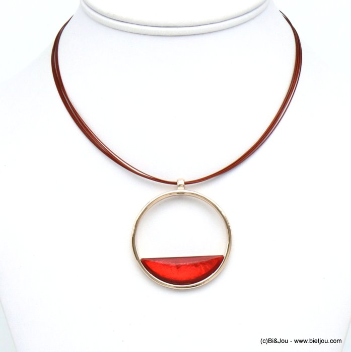 necklace 0120031-36 round pendant metal coloured resin woman wire chain 45mm