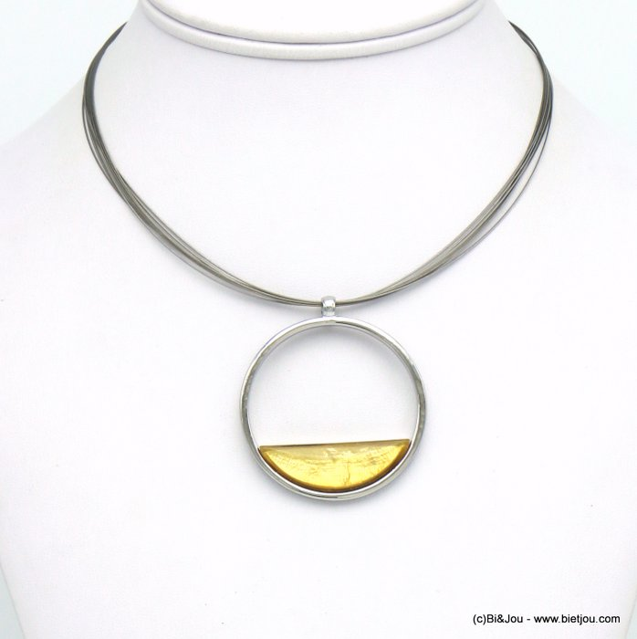 necklace 0120031-41 round pendant metal coloured resin woman wire chain 45mm