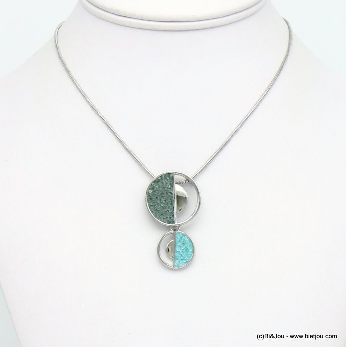 necklace 0120036-03 round geometric pendent metal coloured rhinstone woman snake chain 25x40mm