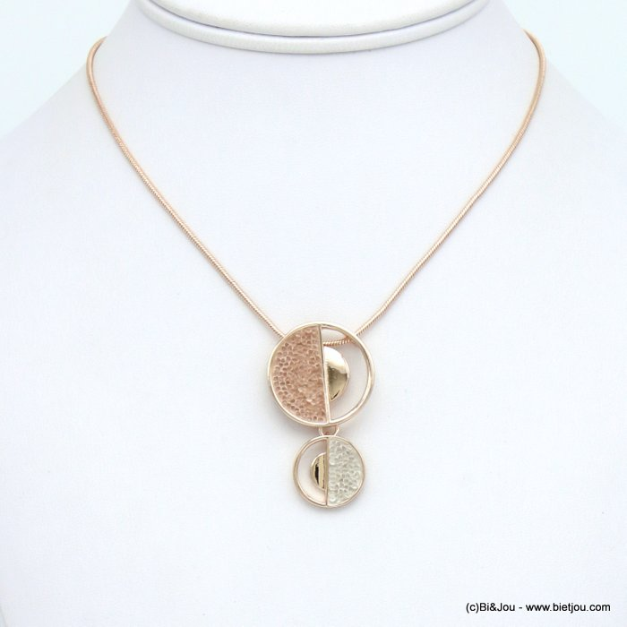 necklace 0120036-06 round geometric pendent metal coloured rhinstone woman snake chain 25x40mm