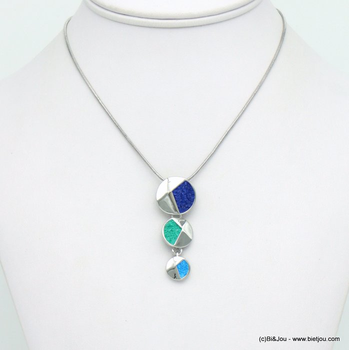 necklace 0120037-09 layered disc geometric pendent metal coloured rhinstone woman snake chain 20x45mm