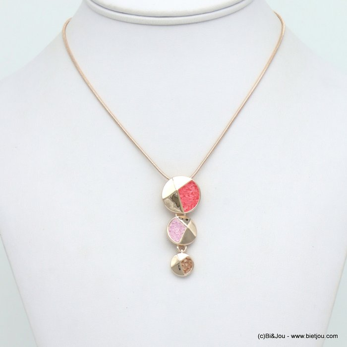 necklace 0120037-36 layered disc geometric pendent metal coloured rhinstone woman snake chain 20x45mm